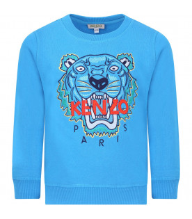 KENZO KIDS Light blue boy sweatshirt with colorful iconic tiger