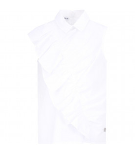 SIMONETTA White girl blouse with ruffle