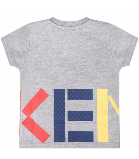 KENZO KIDS Grey babykids T-shirt with colorful logo