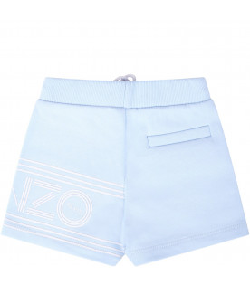 KENZO KIDS Light blue babyboy short with white logo