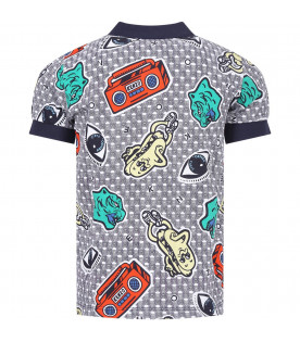 KENZO KIDS Multicolor boy polo shirt with colorful prints