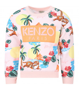 KENZO KIDS Pink girl sweatshirt with colorful all-over tigers