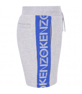 KENZO KIDS Grey boy short with blue stripes and white logo