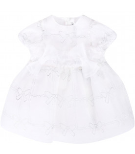 SIMONETTA White babygirl dress with silver bow