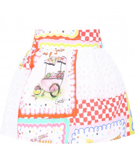 SIMONETTA White girl skirt with colorful print