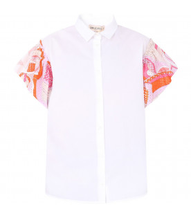 EMILIO PUCCI JUNIOR White girl shirt with colorful iconic print
