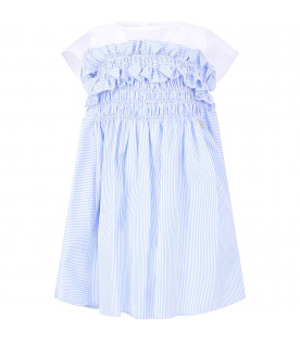 SIMONETTA White and light blue girl dress with metallic logo