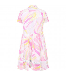 EMILIO PUCCI JUNIOR Pink girl dress wih colorful brand's print