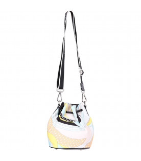 EMILIO PUCCI JUNIOR Light blue girl bag with colorful iconic print