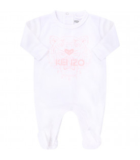KENZO KIDS White babygirl suit with pink iconic tigers