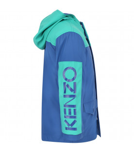 KENZO KIDS Blue and green boy parka with blue logo