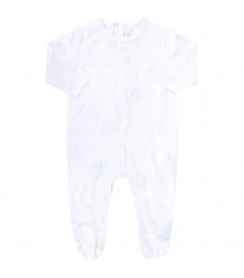 KENZO KIDS White babygirl suit with light blue iconic tigers