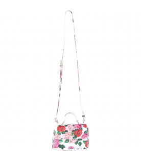 DOLCE & GABBANA KIDS White girl bag with colorful roses