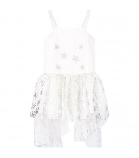 STELLA MCCARTNEY KIDS Abito bianco per bambina con stelle argentate all-over
