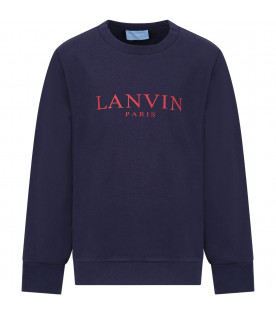 LANVIN PETITE Blue boy sweatshirt with red logo