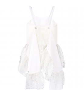 STELLA MCCARTNEY KIDS White girl dress with silver all-oevr stars