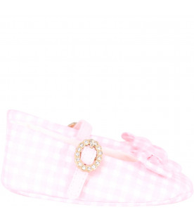 BLUMARINE BABY Pink and white babygirl flat shoes