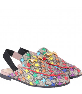GUCCI KIDS Slipper beige per bambina con stelle colorate