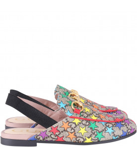 GUCCI KIDS Beige girl princetow with colorful stars