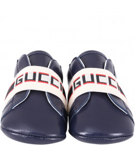 GUCCI KIDS Blue babyboy shoes with red and blue logo
