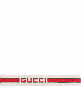 GUCCI KIDS Ivory girl hairband with red and green logo