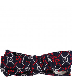 GUCCI KIDS Blue girl hairband with white all -over GG