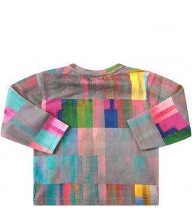 MUMOFSIX T-shirt grigia con figure astratte colorate