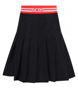 GCDS KIDS Black girl skirt with white logo