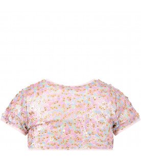 Cardigan rosa per bambina con paillettes colorate