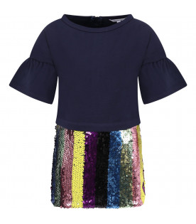 LITTLE MARC JACOBS Blue girrl dress with colorful sequins
