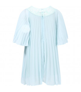 CHLOÉ KIDS Aquamarine girl dress with pierced embroidery