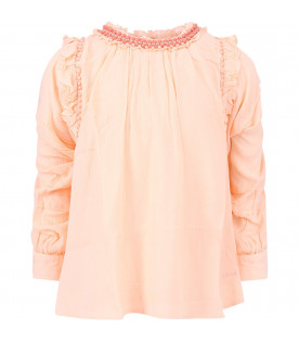CHLOÉ KIDS Peach girl blouse with colorful embroidery
