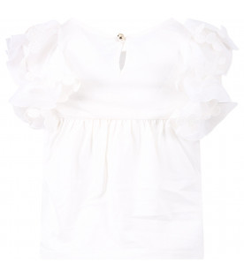 CHLOÉ KIDS White girl tank top with ruffle
