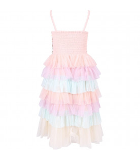 BILLIEBLUSH Pink girl dress with colorful sequins