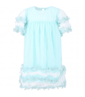 BILLIEBLUSH Aquamarine girl dress with ruffles