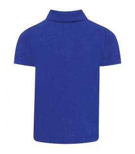 LACOSTE Royal blue boy polo shirt with iconic crocodile