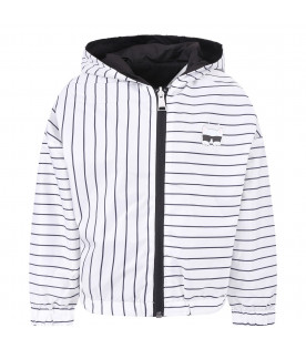KARL LAGERFELD KIDS White and black girl windbreaker with silver logo