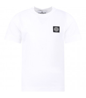 STONE ISLAND JUNIOR White boy T-shirt with iconic compass