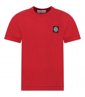 STONE ISLAND JUNIOR Red boy T-shirt with iconic compass