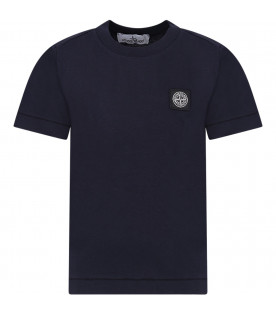 544a3f768aa33 STONE ISLAND JUNIOR Blue boy T-shirt with iconic compass ...