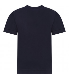 STONE ISLAND JUNIOR Blue boy T-shirt with iconic compass