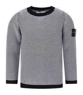 STONE ISLAND JUNIOR White and black boy sweater with iconic patch