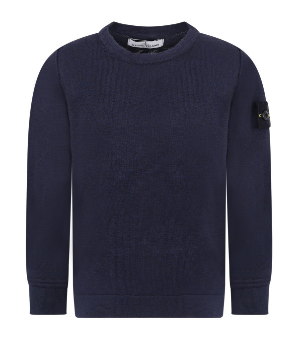 STONE ISLAND JUNIOR Blue boy sweater with iconic patch
