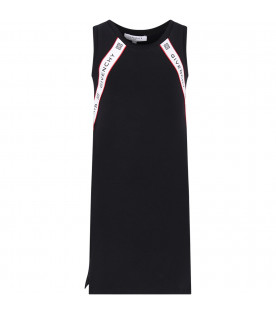 GIVENCHY KIDS Black girl dress with white stripes and black logo