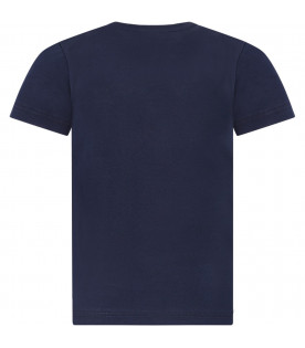 GIVENCHY KIDS Blue boy T-shirt whit white and red logo