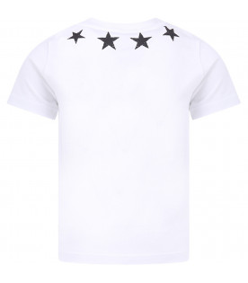GIVENCHY KIDS White kids T-shirt with black vintage stars