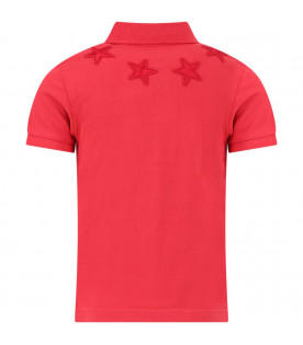 GIVENCHY KIDS Red boy polo shirt with stars