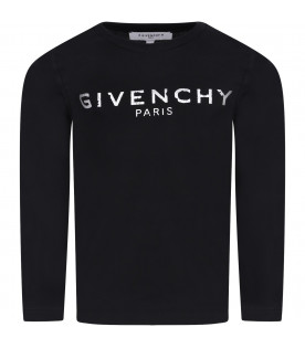 GIVENCHY KIDS Black kids T-shirt with white rubbred logo