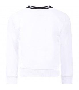 GIVENCHY KIDS White kids sweatshirt with black rubbred logo