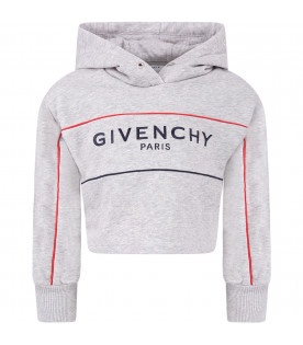 GIVENCHY KIDS Grey kids sweatshirt with black embroidred logo